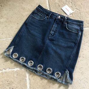 Good American Mini Denim Blue Skirt Ribbed Hem